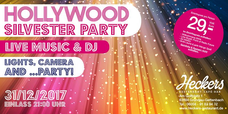 Event Location: Flyer für die Hollywood Silvester Party im Heckers Restaurant.